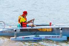 Solar boat Silver Arrow Stock Images