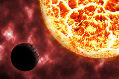 Solar burn dead planet on cosmos Stock Photo