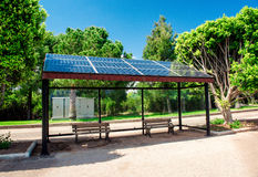 Solar bus stop. Eco-friendly solar bus stop Royalty Free Stock Photo