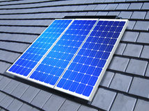 Solar-cell array on roof Stock Photography
