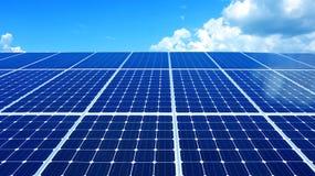 Solar cell and blue horizon sky. Green energy for future world Stock Photos