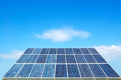 Solar cell on blue sky with clouds Royalty Free Stock Images