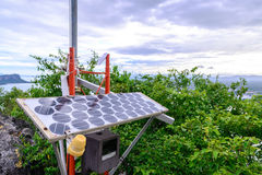 Solar cell for electricity at peak of mountain.  Stock Image