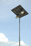 Solar cell electricity post. On blue sky Royalty Free Stock Photo