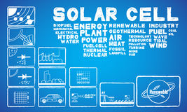 Solar cell energy. With 12 icon Stock Photography