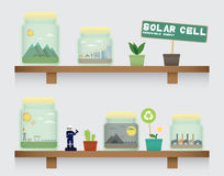 Solar cell energy in jar Royalty Free Stock Images