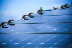 Solar Cell Generated Electrical Power by Sun Light, Closeup of Blue Photovoltaic Solar Panels, Green Energy for Safe World Stock Images