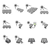 Solar cell icon set Royalty Free Stock Images