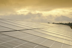 Solar Cell In The Morning Royalty Free Stock Photos