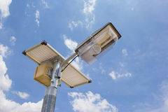 Solar cell lamp on street Royalty Free Stock Photography