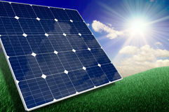 Solar Cell and Landscape Royalty Free Stock Photography