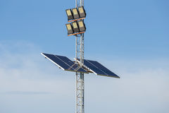 Solar cell panel on lamppost Stock Photo