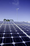 Solar cell panel in solar farm close up Stock Photo