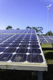 Solar cell panel in solar farm close up Royalty Free Stock Photos
