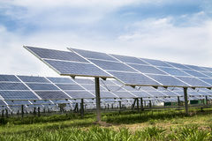 Solar cell panels farm Royalty Free Stock Images