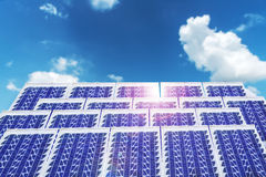 Solar cell panels in a photovoltaic power plant Royalty Free Stock Photo