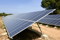 Solar cell panels in a row on Mediterranean Stock Photo
