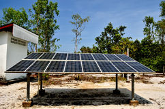 Solar cell panels in village Royalty Free Stock Image