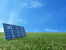 Solar cell power energy grid system in idea concept background Royalty Free Stock Photos