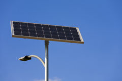 Solar cell powered street lamp Stock Photos