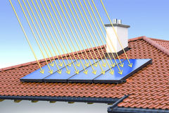 Solar cell on the roof. Solar cell on the red roof Stock Photo