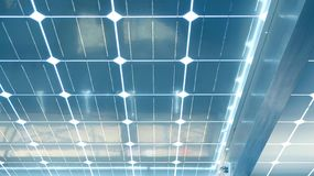 Solar cell roof underneath with blue color Royalty Free Stock Photo