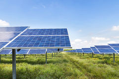 Solar cell in solar power station Stock Photography