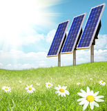 Solar cell and sunray. Green Landscape with solar cell and sunray royalty free stock images