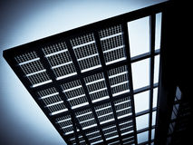 Solar cells. Public building with solar cells in the city of segrate, lombardy, italy stock image