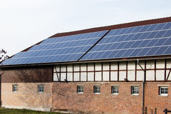 Solar cells. Panels of solar cells on a roof Stock Photos