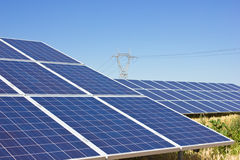 Solar Cells. On a big field Stock Images
