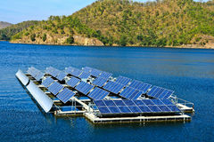 Solar cells. At the dam in Thailand Royalty Free Stock Images