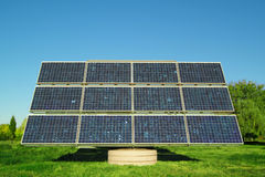 Solar Cells. Blue solar cells for power generation Royalty Free Stock Images