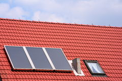 Solar cells. A photo of a roof with solar cells Royalty Free Stock Image