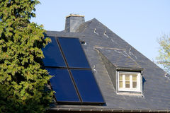 Solar cells. House with solar (photovoltaic) panels Stock Photo