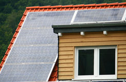 Solar cells. On a roof top Royalty Free Stock Photo