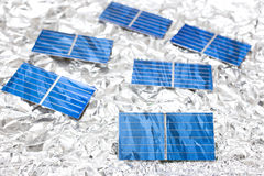Solar cells on aluminum foil Stock Photography