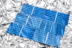 Solar cells on aluminum foil Royalty Free Stock Photography