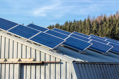Solar-cells on barn Royalty Free Stock Photos