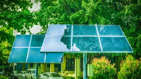 Solar cells in the city Royalty Free Stock Images