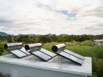 Solar cells energy in the nature Royalty Free Stock Photo