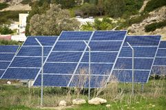 Solar cells in Greece Royalty Free Stock Photo