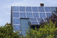 Solar cells on house roof Royalty Free Stock Photography