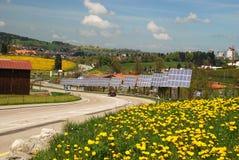 Solar cells in  Le-Chaux-de-Fonds city Stock Image