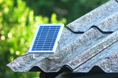 Solar cells panel on roof in the countryside. Thailand Royalty Free Stock Images