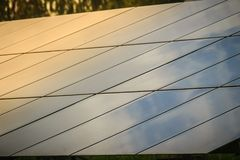 Solar cells (photovoltaic panel) with the reflection of sunlight Stock Images