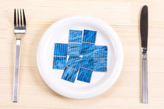 Solar cells on plate Stock Image