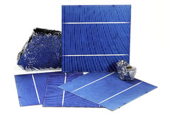 Solar cells. With polycrystalline silicon isolated on white background Royalty Free Stock Images