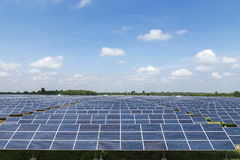 Solar cells in power station on blue sky Royalty Free Stock Images