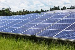 Solar cells in power station energy from the sun Stock Images